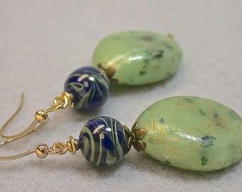 Vintage Japanese Cobalt Blue Green Swirl Glass Bead Earrings, Vintage Japanese Lucite Beads Celadon Green Blue Gold Splatter- GIFT WRAPPED
