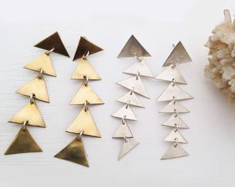 FALLING MOUNTAINS Triangle Cascade Earrings in Brass or Silver