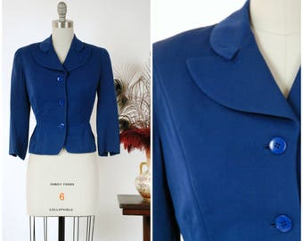 Vintage 1950s Jacket - Beautiful, Saturated Royal Blue Tailored Early 50s Jacket with 3/4 Sleeves and Smart Collar