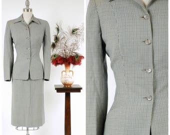 1940s Vintage Suit - Impeccably Tailored Houndstooth 40s Skirt Suit by Hart Schaffner & Marx in Blue and Black