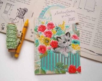 Vintage Die Cut Kitten Cat In a Basket Greeting Card