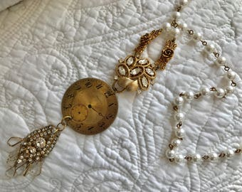 Upcyled Repurposed Crystal Gold Watch Necklace Pearl