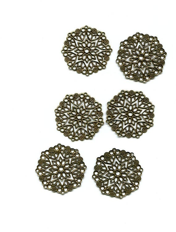filigree flower bronze charms pendants metal 6 pc lot 30mm #supply1060
