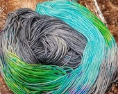 Hand dyed yarn Gray Green speckled