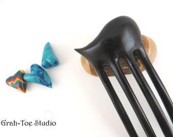 EBony Wood, 4 Tine  wave TUSK,Hairfork, Hair Stick,Handmade Grahtoestudio,Hair Sticks,Hair forks Wood, Gifts for her, Wooden Hairforks
