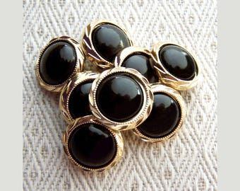 Black and Gold Buttons, 20mm 3/4 inch - Elegant Vintage Glossy Black Buttons w/ Metallic Gold Rims - 7 VTG NOS Two Tone Shank Buttons PL180