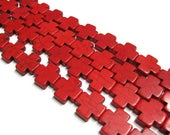 20mm x 20mm Red Howlite Cross Beads