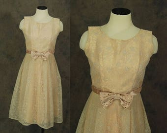 3 Day SALE vintage 50s Party Dress - 1950s Pink Flocked Organdy Glitter Formal Dress Sz M