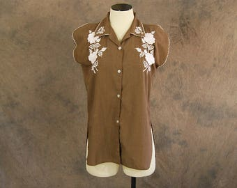 vintage 70s Embroidered Blouse - 1970s Asian Blouse - Brown Ethnic Blouse Sz M