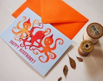 Octopuses birthday card, funny orange greeting card, illustrated card with octopus, ocean and sea card