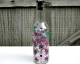 Dish Soap Dispenser,  Recycled Clear Beer Bottle, Painted Glass, Oil and Vinegar Bottle, Shades of Mauve Flowers, Bottle Dispenser