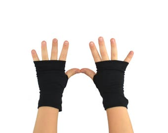 Toddler Arm Warmers in Black Ink - Organic Cotton Fingerless Gloves