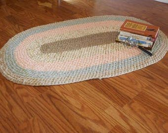 Oval Rag Rug, Pastel, Toothbrush Rug Recycled, Amish Knot Rug, Braided Rug