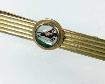 Vintage Horse Equestrian Tie Clip, Derby Theme,  1950's, Intaglio Glass, Mother of Pearl Tie Bar, Men's Gift, Father's Day