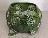Frog planter with drain hole ceramic Green Glazed 06142017
