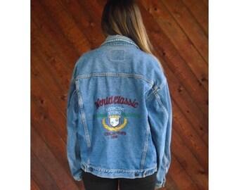 20% off SUMMER SALE. . . Oversized Denim 90s Embroidered Jacket - Vintage - L