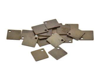 Brass Square Charm, 100 Antique Brass Square Charms (9mm) Pen157 K121