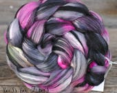 ABSTRACT #3 Hand Dyed Merino Mulberry Silk Wool Roving for Spinning, Nuno Felting Wool, Combed Top, Spinning Fiber