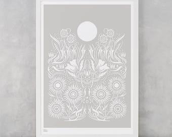Moonlight Screen Print, Moon Wall Art, Moon Wall Poster, Moonlight Wall Art, Nature Wall Print, Flowers Wall Decor, Moonlight Art Print