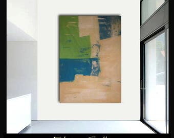 Extra large 60x45 original abstract painting on canvas by Elsisy  Turquoise, lime, cream. white  Free US shipping