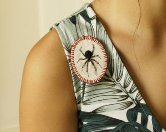 Textile Jewelry Arachnid Brooch Spider Lover Black and Red Natural History Wildlife Art Hand Embroidered