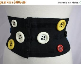 FLASH SALE Vintage Big Bright Buttons + Black Elastic Wide Stretch Corset Belt | Retro 1980s | Stephan Sprouse Style | Womens Large 27-34 Wa