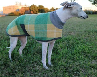 checks in green and yellow...winter coat for a large whippet in vintage wool blanket and polar fleece