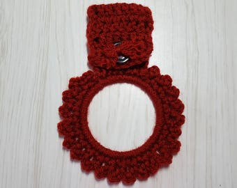 Towel Holder Crocheted Ring Brick Red