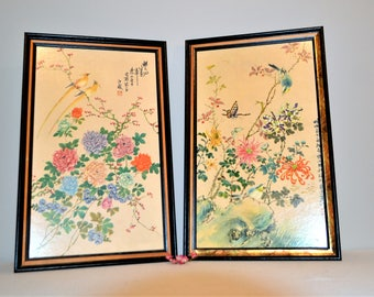 Vintage Oriental Birds and Flowers Wall Pictures