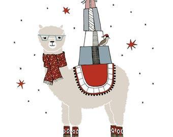Arlo the Alpaca print. seasonal holiday decor