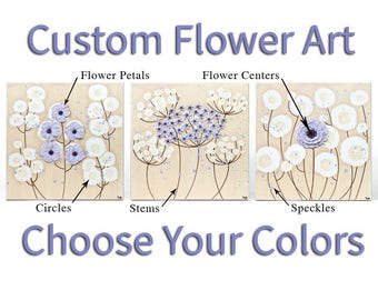 3 Piece Wall Art Set, Custom Canvas Painting with Sculpted Flowers, Choose Your Colors - 32x10