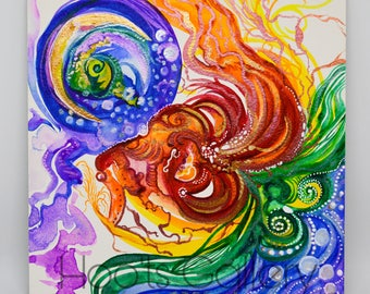 Abstract Watercolor Painting - Original Artwork - Original Painting - Elements Artwork - Iridescent Painting - Original Watercolor Painting
