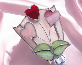 Bunch of Hearts Stained Glass Night Light Valentine Heart Night Light Pink Glass Night Light Valentine Nightlight Baby Girl Night Light