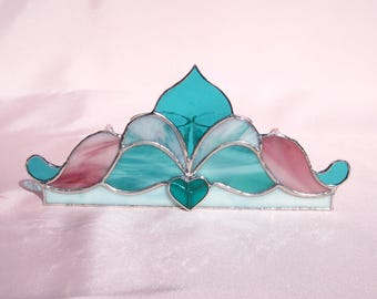 Valentine Stained Glass Candle Holder Victorian Glass Tea Light Holder Heart Votive Candleholder Pink and Turquoise Glass Candleholder