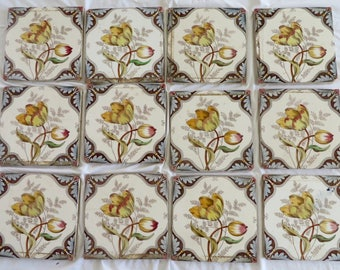 Antique English Hand Colored Botanical Tiles/Aesthetic Tiles/Hand Colored Tiles/L.T. England Tile company