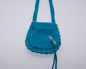 Leather Medicine Bag / Neck Pouch....Large Secured Flap..TURQUOISE ...Smooth