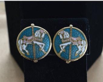 On sale Pretty Vintage Aqua Blue Carousel Horse Cloisonne Clip Earrings (J6)