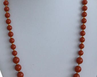 ON SALE Pretty Vintage Rust PlasticGraduated Beaded Necklace,Gold tone, 24""
