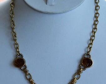 "ON SALE Faux Brown Druzy Necklace, Gold tone, Vintage, 16""-19"" (AG3)"