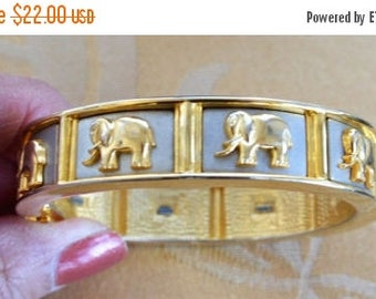 ON SALE Pretty Vintage Two-tone Gold, Silver Elephant Clamper BangleBracelet (AE14)