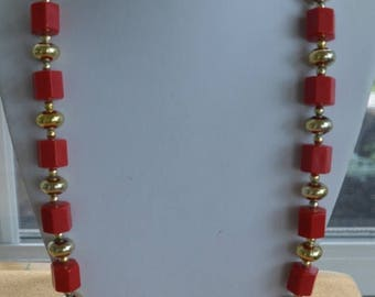 """ON SALE Pretty Vintage Red Plastic Beaded, Gold tone Necklace, 30"""""""