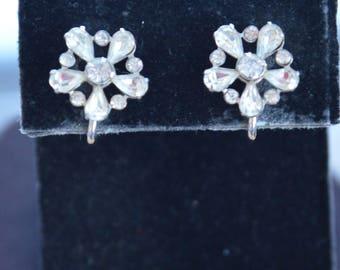 Sterling Silver Rhinestone Floral Screw back Earrings, Vintage (I4)