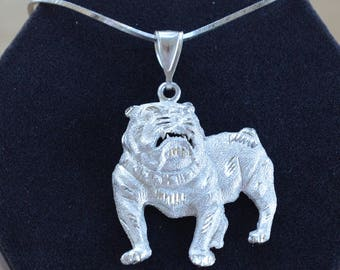 "Sterling Silver Bulldog Pendant Necklace, Vintage, 24"" (TB210)"