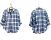 Vintage Plaid Flannel Shirt Blue & White QUIZZ Cotton Button Up Oxford Shirt Womens Boyfriend Shirt Oversized Preppy Grunge size XL
