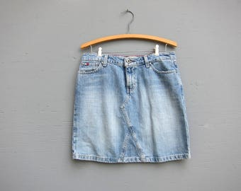 90s Tommy Hilfiger Mini Jean Skirt Short Denim Skirt Vintage 90s Faded Miniskirt Preppy Summer Jean Skirt Blue Denim Skirt Women's 4 Small