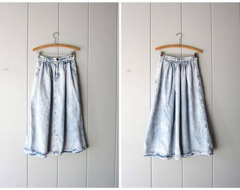 Calvin 80s Acid Wash Jean Skirt High Waist Midi 1980s Vintage Long Denim Skirt Streetwear Hipster Grunge Boho Country Skirt Womens XS Small