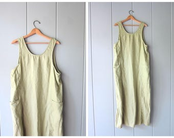 90s Minimal LINEN Dress Pale Green Minimal Dress Vintage Loose Fit Frock Natural Look Long Sun Dress Linen Maxi Dress Pockets Womens Large