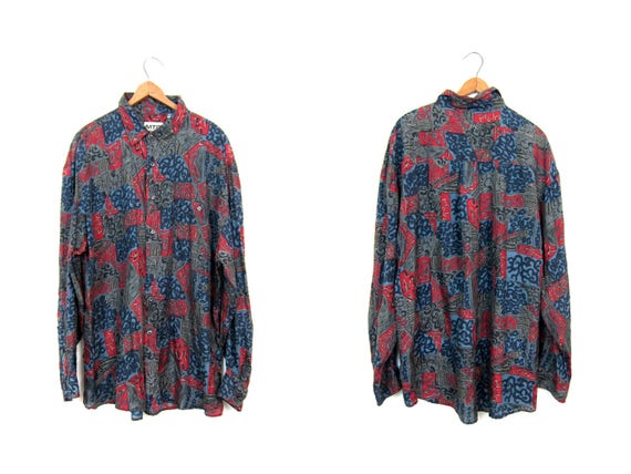 90s Silk Shirt Long Sleeve Blouse Button Up Silk Top Slouchy Retro Hipster Shirt Oversized Vintage Red Gray Black Abstract Blouse Mens Large