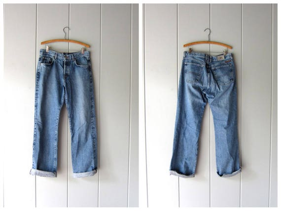 90s Blue Jeans BUTTON FLY Jeans Straight Leg LUCKY Brand Boyfriend Mom Jeans Dungarees Jeans Vintage Hipster Denim Womens 12 waist 31 32