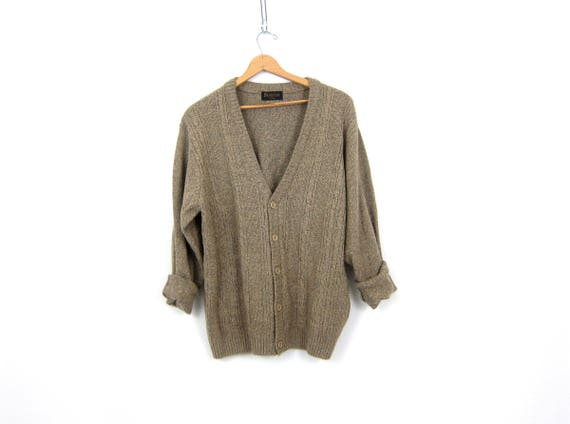 Light Brown Sweater Button Up Cardigan Sweater Oversized Boyfriend Sweater Preppy Boho Cable Knit Layering Fall Sweater Men's Large